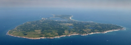 Select of 2003 summer photos for the Block Island Conservation story. Aerial view of Block Island.